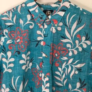 Reyn Spooner Shirt Aqua Flowered Tailored Fit XXL